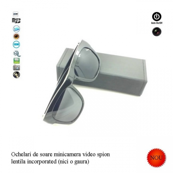 Minicamera video spy camuflata in ochelari de soare, card microSD 32Gb