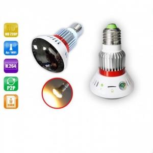 Bec cu  Camera Ip Spion Wi-Fi Ascunsa 720P, Infrarosu , Emite Lumina Galbena 5W, Lentila Oglinda Perfect Camuflata , P2P ,CSBC785YL940