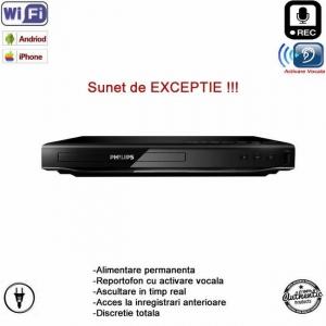 Dvd (Blue-Ray)  Player cu microfon reportofon spion profesional Wi-Fi + ascultare live pe internet