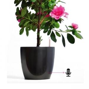 Ghiveci de Flori Negru cu Microfon  Gsm pentru Spionaj Audio in Timp Real, Functie de Activare Vocala
